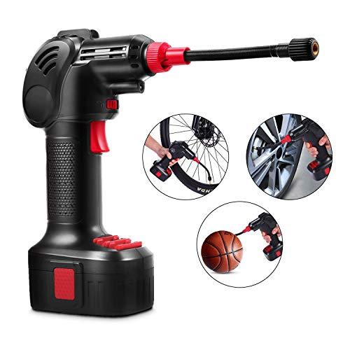 Voluker Air Compressor, Electric Cordless Tire Inflator, Hand Held Pump with LED Light 150PSI 12V 2000mAh, Portable Air Pump with Pressure Gauge Battery for Basketball, Cars, Motorbike