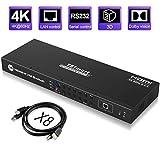 TESmart 16x1 HDMI KVM Switch 4K@60Hz 16 Puertos Conmutador de Montaje en Rack con 8 pcs KVM Cables de 5ft/1,5m, Dispositivo USB 2.0, Control hasta 16 Computadoras/Servidores