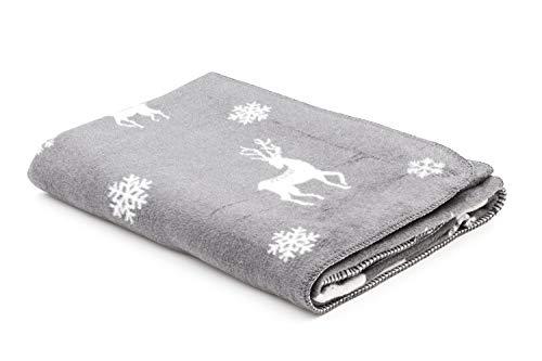 myHomery Weihnachtsdecke - fürs Sofa mit Kettelrand - Wolldecke warm und flauschig - Kuscheldecke in Weihnachtsmotiven - Rentier Schneeflocke Schneeflocken und Rentiere Anthrazit | 150x200 cm
