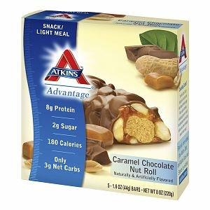 Atkins Advantage Snack Bars, 5 pk, Caramel Chocolate Nut Roll 1.6 oz Pack of 3