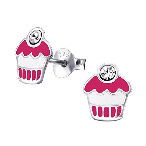 Laimons Kids Orecchini a pressione per bambini gioielli per bambini Muffin Rosa, Bianco, Viola Con brillantini Argento Sterling 925