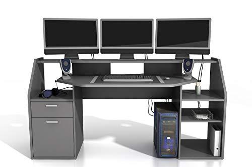 'Felix' Large PC Gaming Desk Table Workstation With Shelves Storage Dark Grey