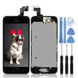 Ayake for iPhone 5S/SE Screen Replacement with Home Button Black, Full Assembly Retina LCD Touch Digitizer with Camera+Earpiece Speaker+Sensors+Tools for A1533, A1530, A1528, A1518, A1457, A1453