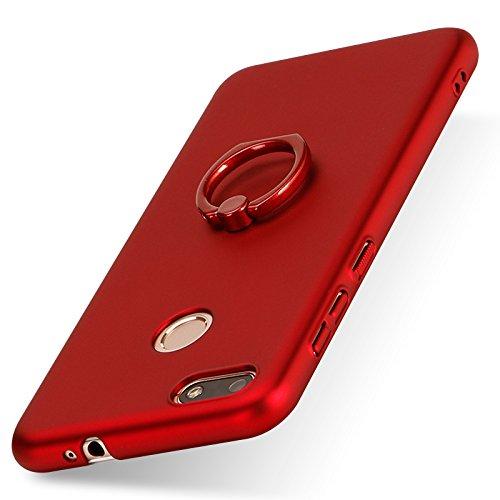 Funda Firmness Smartphone Funda Carcasa Case Cover Caso con Anillo para Huawei Y6 Pro(2017)/Huawei P9 Lite Mini/Huawei Enjoy 7(Rojo)