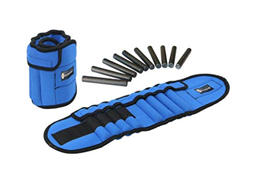 GYMENIST Pair of Ankle Weights Can Be Adjusted Up to 5.5 LB Each Set of 2 x Weight Wraps (Total 11-LB), Blue (4347391503)