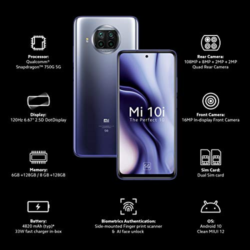 Mi 10i 5G (Atlantic Blue, 6GB RAM, 128GB Storage) - 108MP Quad Camera | Snapdragon 750G | Upto 6 Months No Cost EMI