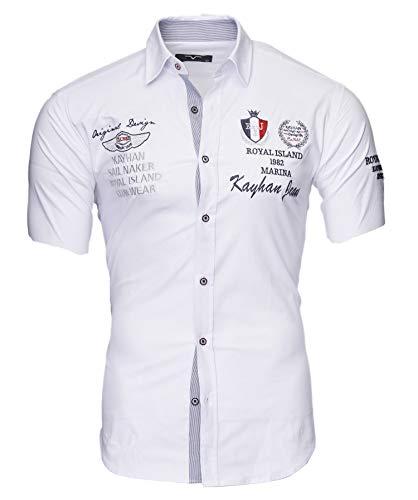 Kayhan Herren Hemd Monaco Kurzarm Weiß 3XL