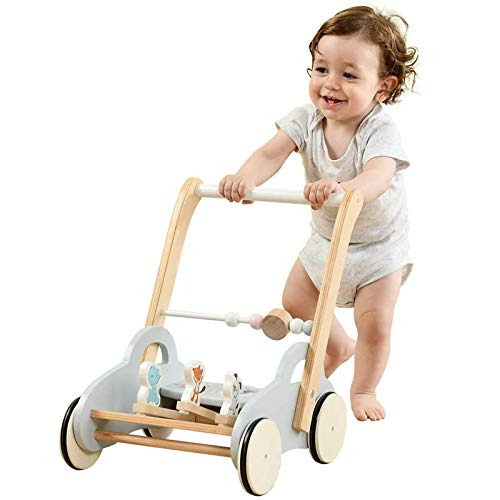 labebe Push Walker Stroller Toys ,Pull Wagon for Kid,Gray Animal-Push Toy for Toddler, sit to Stand Learning Walker, 2-in-1 Activity Push Walker for Infant/Child, Wooden Play Wagon 4 Wheel Push Walker
