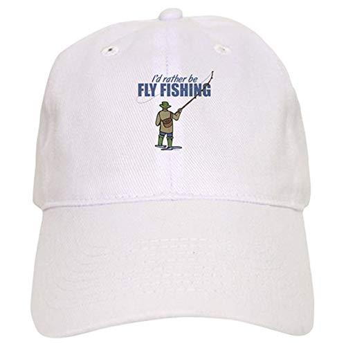 Guan_Collection Gorra de béisbol con cierre ajustable, diseño de pesca con mosca, unisex, color blanco