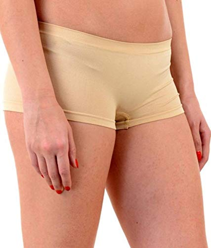 PLUMBURY® Women's Spandex Seamless Boyshort Panty,Free Size (Pack f 2) Blue/Beige