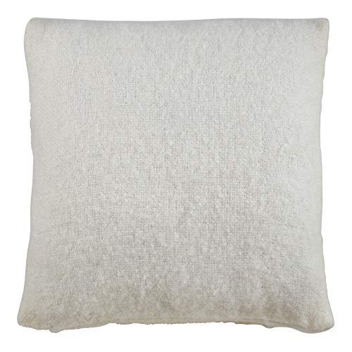 SARO LIFESTYLE Angora Collection Faux Mohair Pillow Cover, 18', Ivory