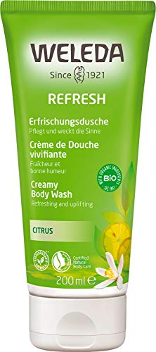WELEDA Refresh Erfrischungsdusche Citrus - belebendes Naturkosmetik Bio Duschgel mit Zitronen und Orangen Duft, pflegende Reinigung für Haut, Körper und Gesicht (1 x 200 ml)