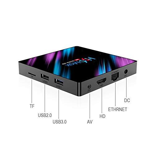 EKUPUZ Android TV Box 9.0 [4GB+64GB] Smart H96 Max TV Box mit RK3318 Quad-Core 64bit Processor Unterstützt 2.4GHz/5.0GHz Dual WiFi Bluetooth 4.0 4K Ultra HD 3D mit Smart Android 9.0 TV Box