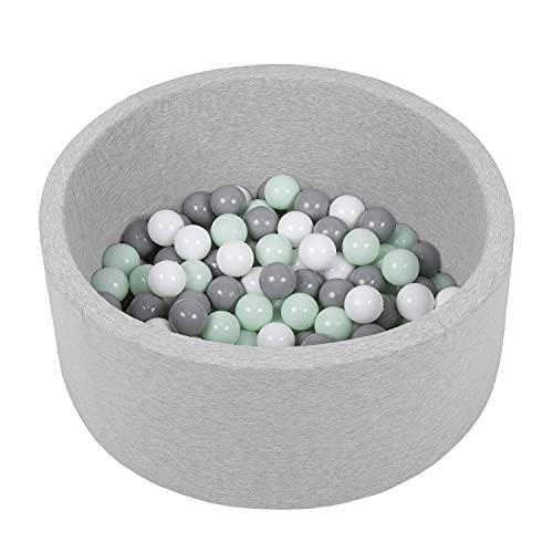 SELONIS Bällebad Bällepool Für Baby Kinder 70X30cm/150 Bälle Rund, Hellgrau: Weiß/Grau/Minze