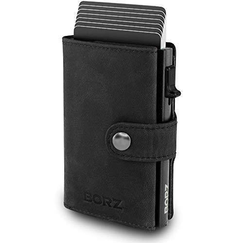 BORZ Prime ® MAXUS Mini Wallet Herren Damen (mit Münzfach)   Slim Wallet Credit Cardholder   Kreditkartenetui   RFID Schutz   Premium Geldbörse   Geldbeutel für Karten & Scheine Echtes Leder