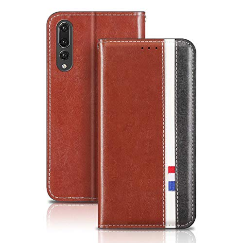 YaMiDe Case Compatible for Huawei Mate 20 Pro Case, Premium PU Leather case, Calfskin texture, Flip Cover with inner Magnetic Closure, Dark brown with black