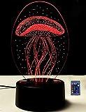 Ilusión Optica 3D Medusa Luz Nocturna Led Lámpara 7/16 Colores Control Remoto USB Power Juguetes Decoración Navidad Cumpleaños Regalo