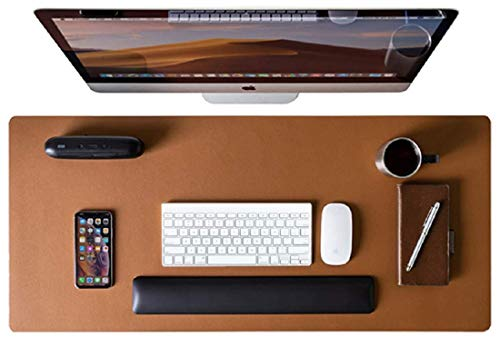 Contact's Multifunctional Non-Slip PU Leather Desk Mat,Mouse Pad,Laptop Desk Pad,Ultra Thin Waterproof Desk Writing Mat for Office, College, School, Home etc. (Tan)…………