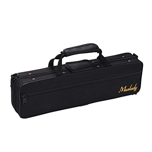 Muslady Flute Case,Flute Case Backpack Gig Bag 16 Holes C Key Box Water-resistant with Strap Top Carry Handle Cleaning Cloth