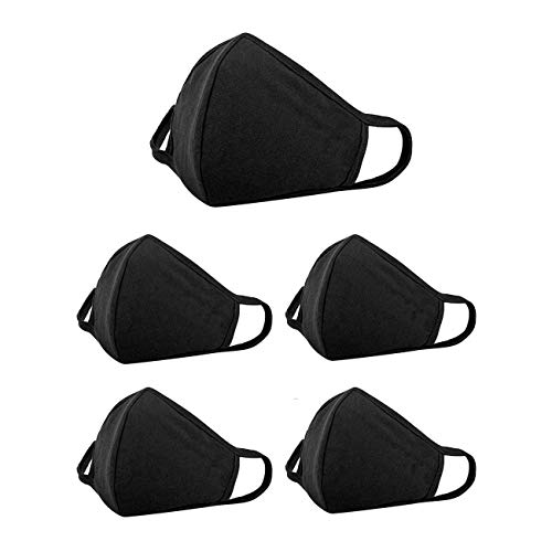 DAN RIVER 100% Cotton Kids Mask 2-Ply Reusable Face Mask - Breathable Comfort - Soft Ear Loops- Machine Washable- Face Masks for Children 3 to 7 years- Black Cotton Mask -Pack of 5