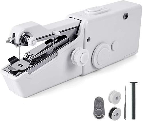 GTIWUNG Máquina de coser de mano, mini máquina de coser eléctrica inalámbrica portátil (para principiantes), puntadas rápidas para telas, ropa, ropa para mascotas, para el hogar, viajes o trabajo