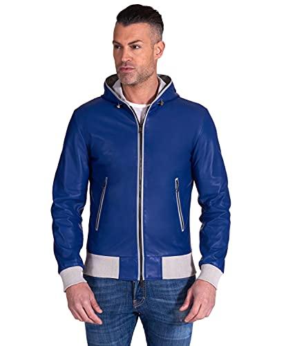D'Arienzo Chaqueta italiana de cuero con capucha azul eléctrico para hombre, hecha en Italia BIANCOLINO