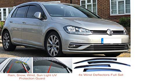 4 x Windabweiser kompatibel mit VW Volkswagen Golf MK7 VII 5-Türer 2012 2013 2014 2015 2016 2017 2018 2019 2020 Premium Qualität Acrylglas PMMA Regenabweiser Abweiser