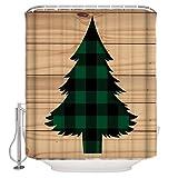 N / A BUON Natale Legno Rustico Albero di Natale Tessuto Tenda da doccia Arredo bagno Set con ganci, Stallo