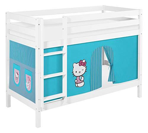 Lilokids Lit superposé JELLE Hello Kitty Turqois - lit d'enfant Blanc - avec Rideau et Deux sommiers, lit 90x200 cm