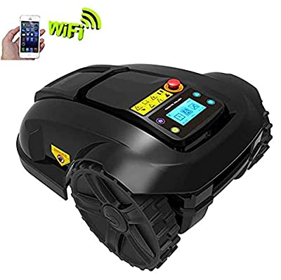 AHELT-J Automatic Robotic Lawn Mower, Electric Intelligent Lawn Mower, Waterproof Automatic Charging Robot Lawn Mower, Smart WiFi Rain Protection Obstacle Avoidance Timing Theft Lawn Mower.