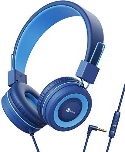 iClever Bambini Cuffie, 85dB volume limitato, Uono Stereo, Pieghevoli, Cavi non Aggrovigliati, Bambini Cuffie per Smartphone, Tablet, PC con 3.5 mm Jack