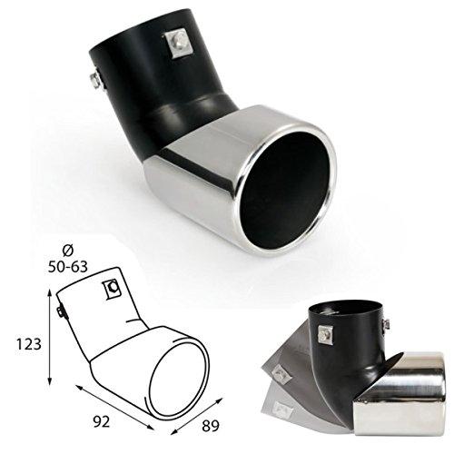 ER096 - Endrohr Auspuffblende zum anschrauben L=123mm + 92mm H=89mm, Einlassdurchmesser 50-63mm