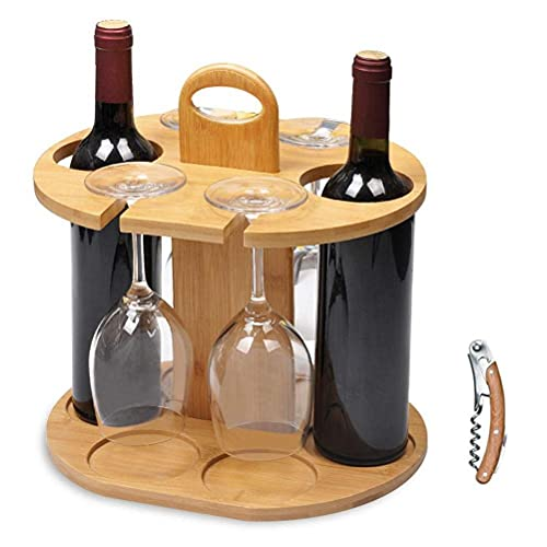 WINBST Botellero de madera con soporte para copas de vino, soporte para vino con sacacorchos para 4 copas de vino y 2 botellas de vino de 11,8 x 9,4 x 11,8 pulgadas.
