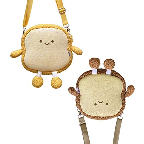 Yuncheng Backpack Bag Plush Stuffed Animal Simulation Cute Bread Toast Backpack Plush Toys Cute Plush Doll Soft Food Bag Shopping for Kids Girls Birthday Gifts (Color : Dark Brown Bag)