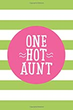 One Hot Aunt: 6x9 Lined Personalized Writing Notebook Journal, 120 Pages – Lime Green Stripes with Pink Family Name and Funny, Inspirational Quote
