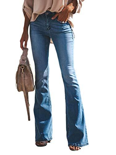 OranDesigne Donne Jeans a Zampa di Elefante Moda Pantaloni a Zampa di Elefante Pantaloni a Vita Alta Elasticizzati A-Blu Chiaro M