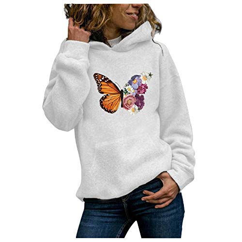VEFSU Hoodie Women Long Sleeve Hooded Top Printed Casual Autumn Winter Pullover Warm Sweater with Hood(a-White,XXL)