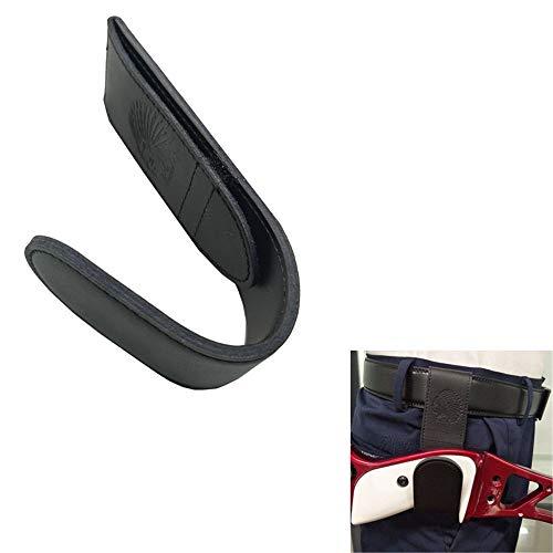 SHARROW Bogenschießzubehör Bogenhaken Leder Bogenhalter Bogen Gürtelhalter Bogenholster Ständer für Recurve Bogen Langbogen (Schwarz)