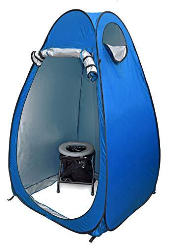 24ocean WC Klo-Set – Klapptoilette mit Pop-Up Zelt Duschzelt Umkleidezelt, Farbe:Blau/Grau, Ausführung:Einweg 30 Beutel