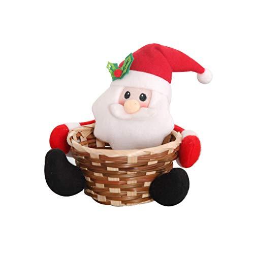 Adornos Navidad Casa Muñecos Cesta Papa Noel/Muñeco de nieve/Reno Navidad Decoracion Mesa Almacenamiento de Dulces, Galletas