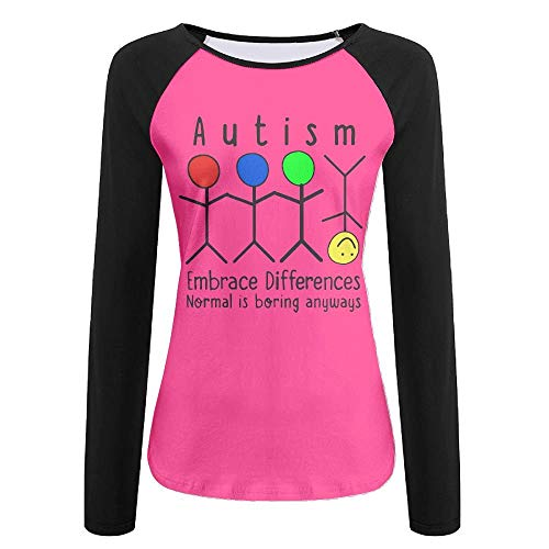HFJFJZ Women's Long Sleeve Tee,Normal is Boring Autism...