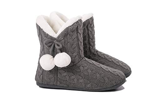 AIREE FAIREE Zapatillas de Casa para Mujer Pantuflas Mujer Invierno Casa con Bordes del Tejido de Punto y Pompons (Medio EU 38-39, Gris)
