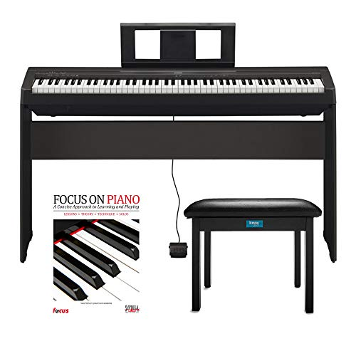 Yamaha P45 88 Weighted Keys Digital Piano w/ Yamaha L85 Furniture Stand ,Knox Bench and Focus Music Book/CD