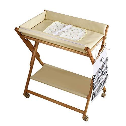 ACZZ Wickeltisch Portable für kleine Raum, Holz Folding Windel Werk auf Rädern, höhenverstellbarer Tisch,Weiß