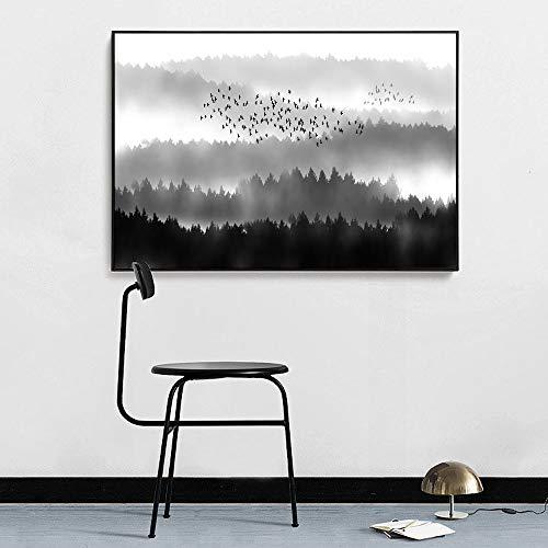 sanzangtang Flying Bird Poster und Druck auf Leinwand Gemälde Landschaft Wandbild Kunst Wohnzimmer Dekoration Rahmenlos 40x60cm