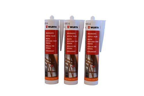 Würth 3 Stück Maler-Acryl weiss 310 ml Kartusche Fensterverglasung, Abdichtung, Dehnfugen, Acrylfugen in Bad, Dusche, Sanitär, aussen hitzbeständig, hochtemperatur | Dichtmasse