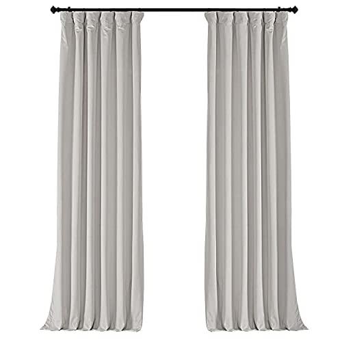 Half Price Drapes VPCH-110602-84 Signature Blackout Velvet Curtain (1 Panel), 50 X 84, Porcelain White