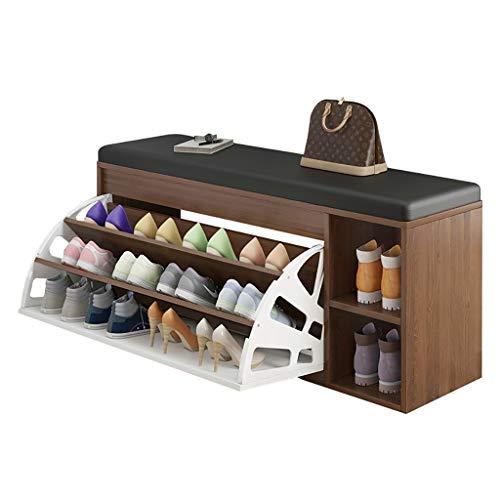 Bancos con cajones Organizador de almacenamiento de banco de zapatos de 2 niveles Tire hacia abajo Unidad de muebles de madera con un asiento tapizado de cuero negro para la entrada del pasillo y el d