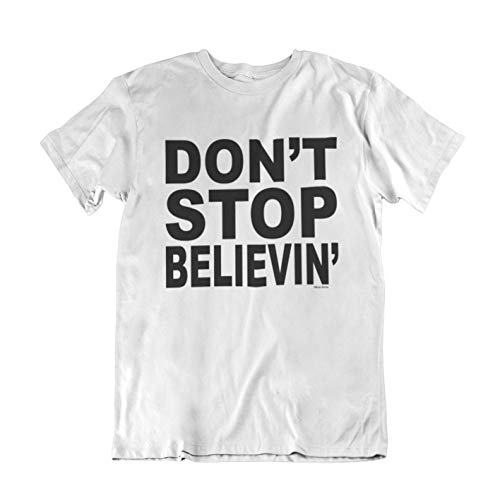 buzz shirts Don't Stop Believin' - Mens or Womens Organic Cotton Retro Song Inspired Music T-Shirt