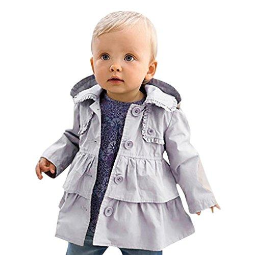 LuckyGirls Baby Mädchen Jacke Mantel Mit Kapuze Trenchcoat Sweatjacke Prinzessin Kinderjacken Kleidung Outerwear 1-5 Jahre Frühling Herbst (90)